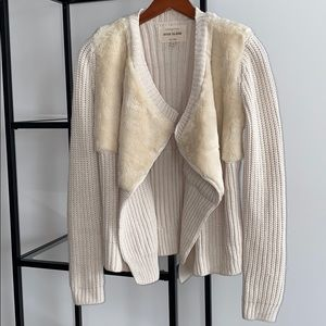 River Island Cream Faux Fur Knit Cardigan NWOT